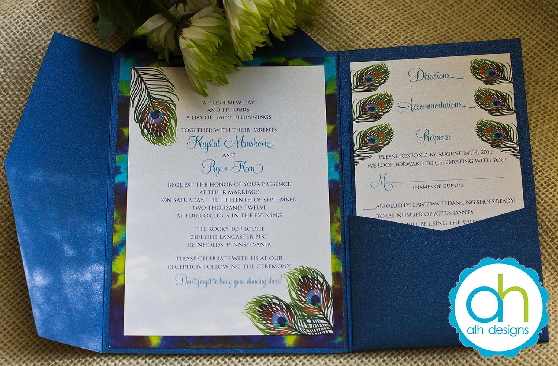 Krystal Ryans Peacock And Tie Dye Wedding Invitation Suite