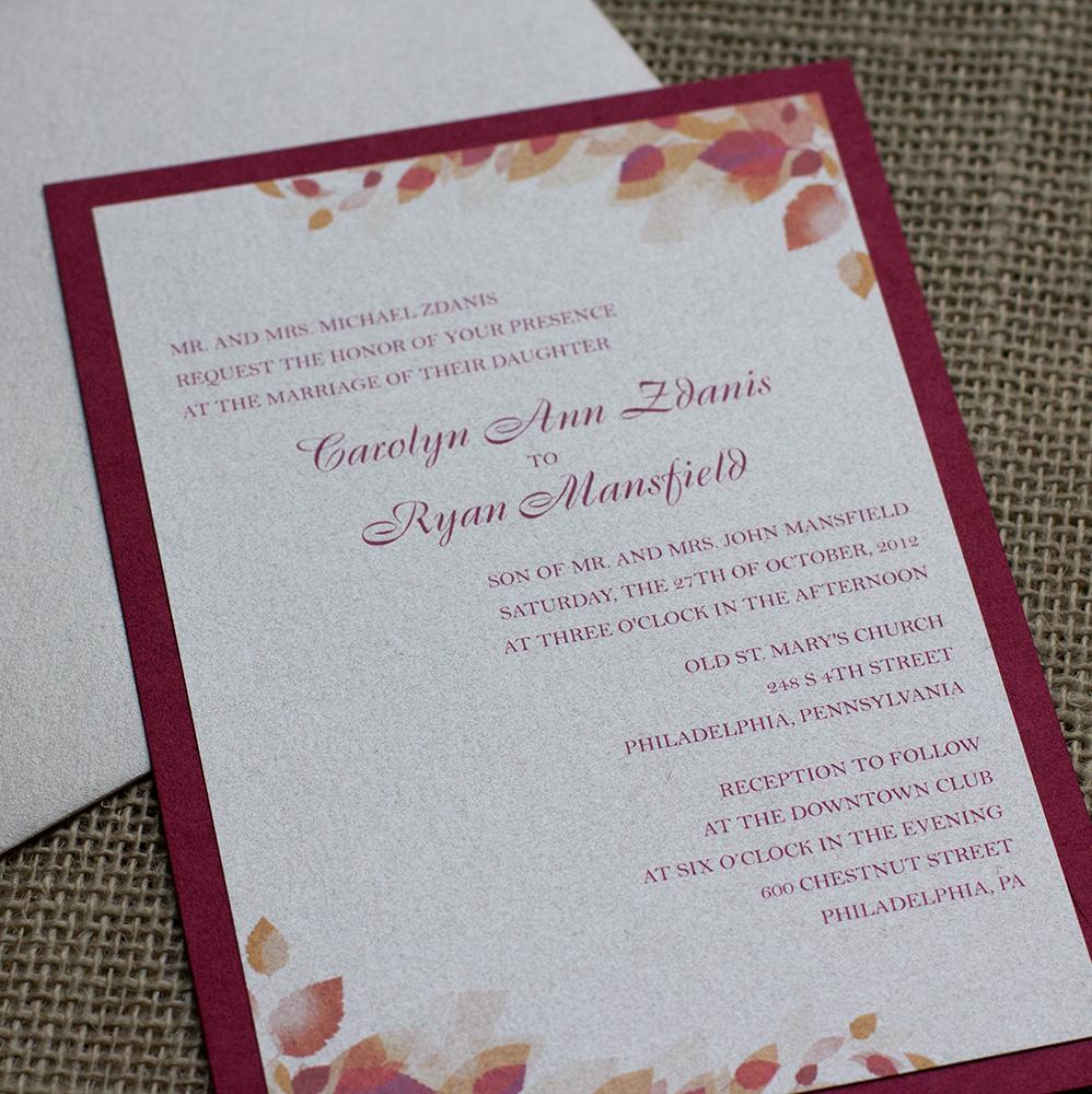 Carolyn ryans wedding invitation suite april lynn designs wedding invitation autumn fall leaves red monicamarmolfo Choice Image