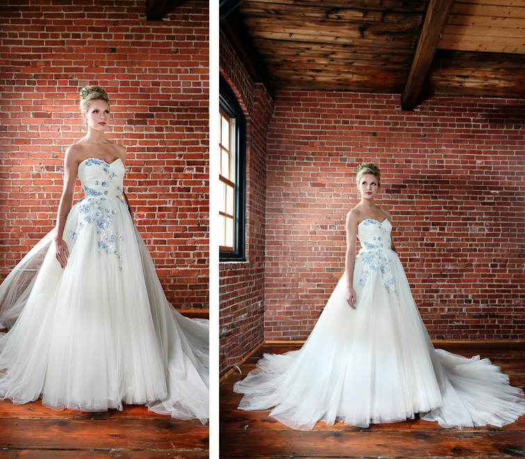 Rustic Chic Distillery Styled Shoot   Pronovias Flower Applique Wedding Gown