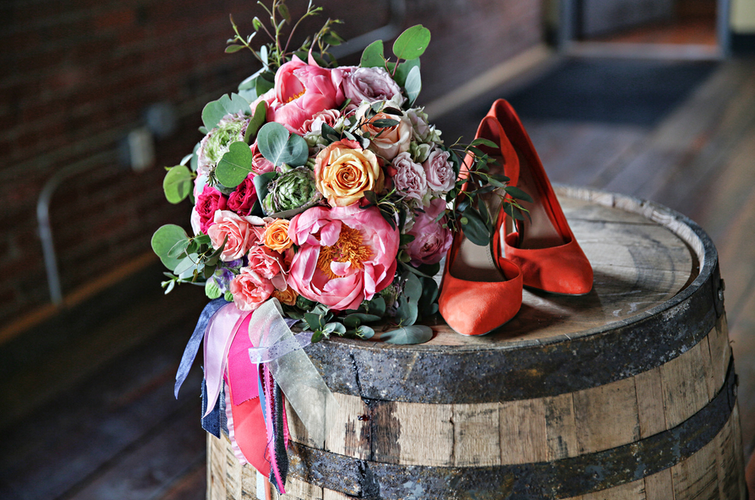 Rustic Chic Distillery Styled Shoot Shoes + Bouquet