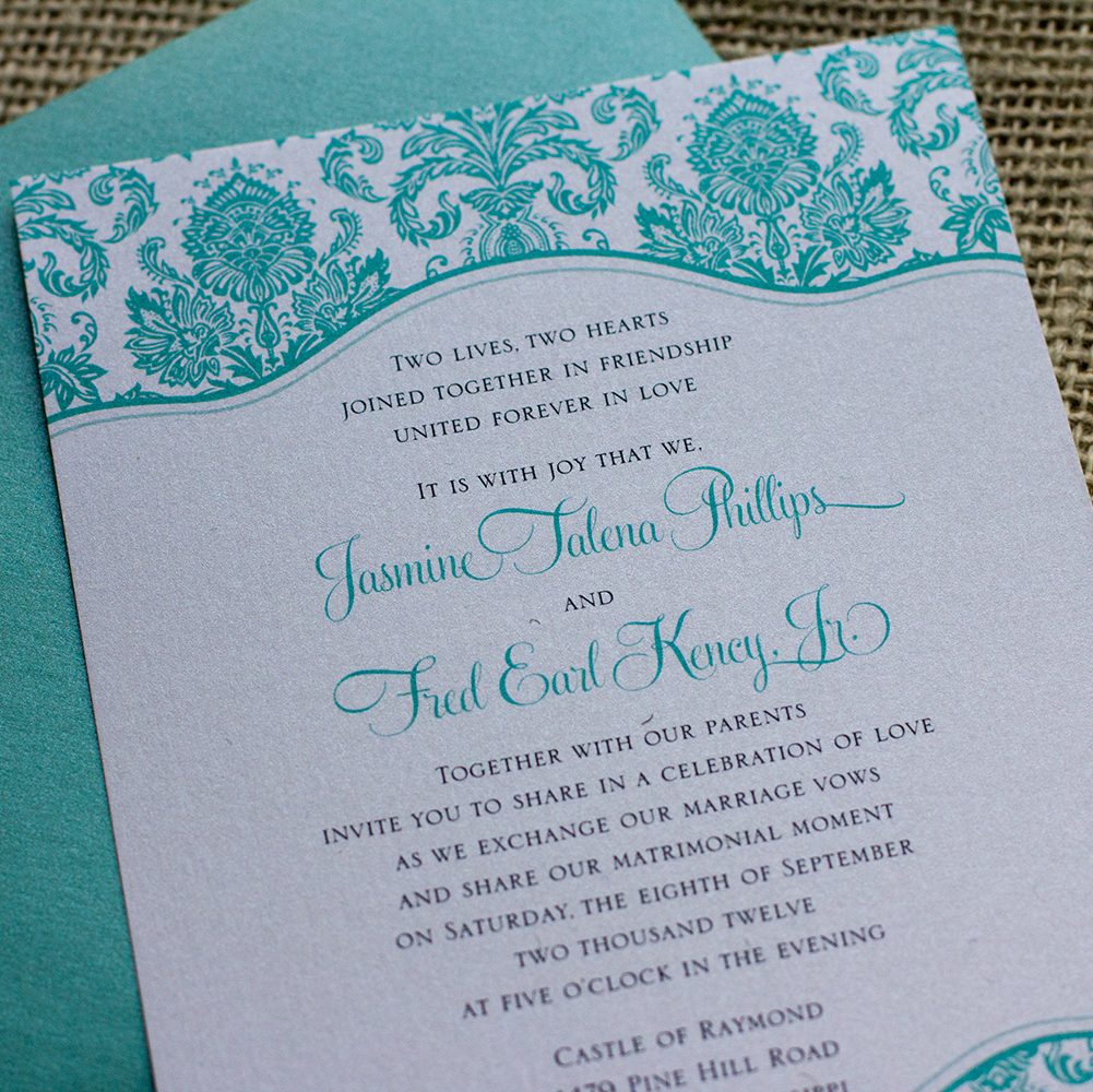 Tiffany Wedding Invitation, Tiffany Blue, Tiffany Green, Wedding Invitation