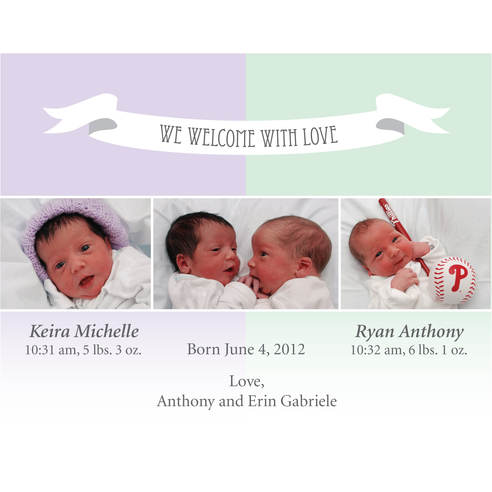 birth announcement, baby, mint and purple, twins, babies
