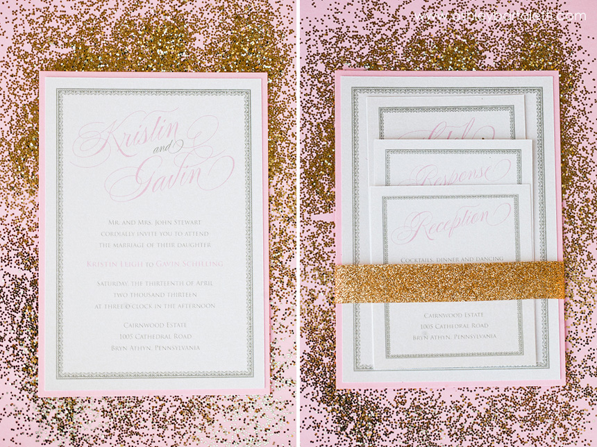 Sparkly Spring Pink And Gold Glitter Invitation, ...