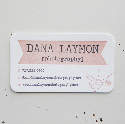 letterpress, business card, letterpress business card, dana laymon photography