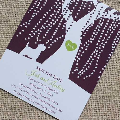 whimsical, save the date, rustic, tree, westie, save the date