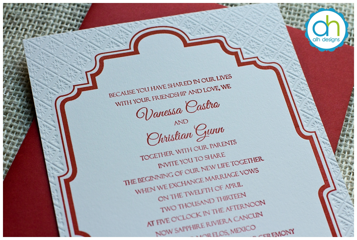 Destination Wedding Stationery | Mexican Tile Letterpress Wedding Invitation