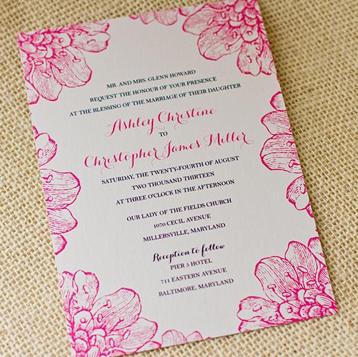 Flowers Pink Blue Wedding Invitation Invitations