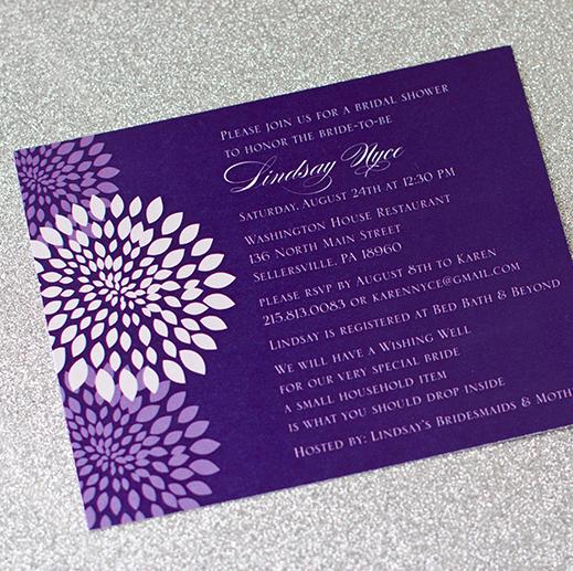 Purple, floral, bridal shower, bridal shower invitation
