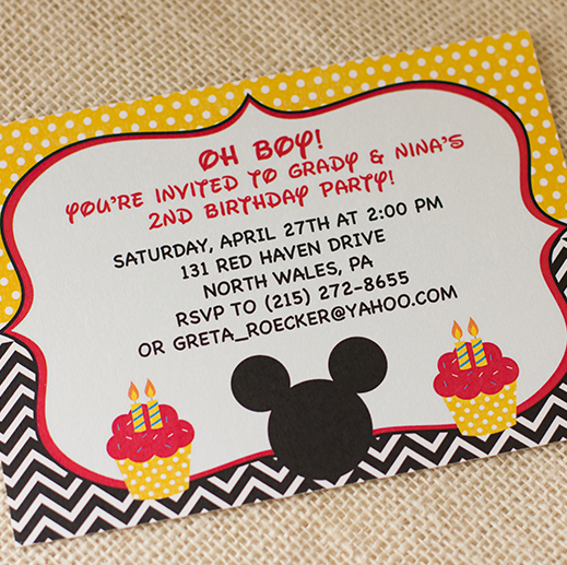 mickey mouse, birthday invitation, gold, red, black, yellow