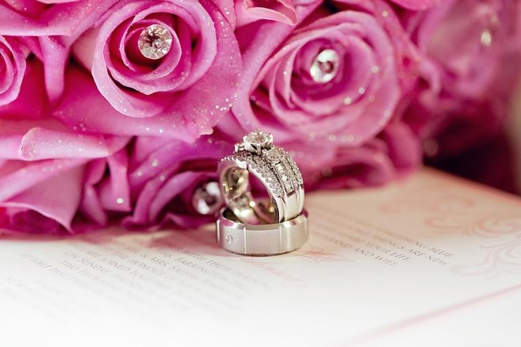 Philadelphia Custom Wedding Invitations | Pink Glitter Rose Bouquet with Rhinestones