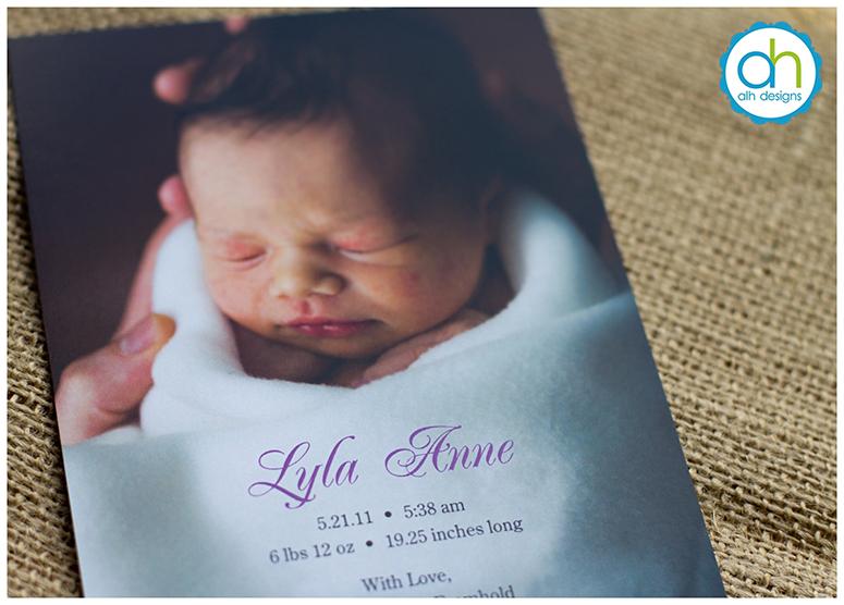 ALH Designs Philadelphia Custom Stationery | Lyla's Birth Announcement