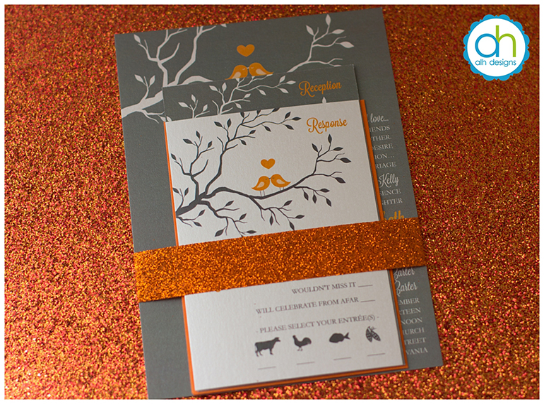 Philadelphia Custom Wedding Invitations | Autumn Lovebird Wedding Invitation  ...