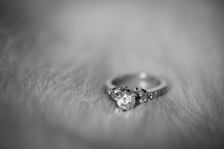 Philadelphia Custom Wedding Stationery   Ring Shot On White Fur Capelet