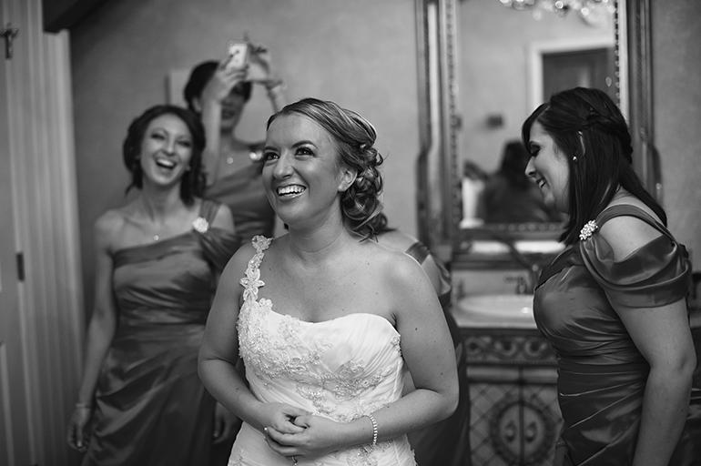 Philadelphia Custom Wedding Stationery   Black & White Getting Ready Shot