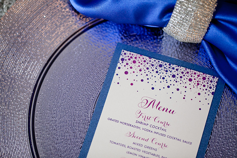 Philadelphia Stationery Design | Sparkly Confetti Menus By April Lynn Designs
