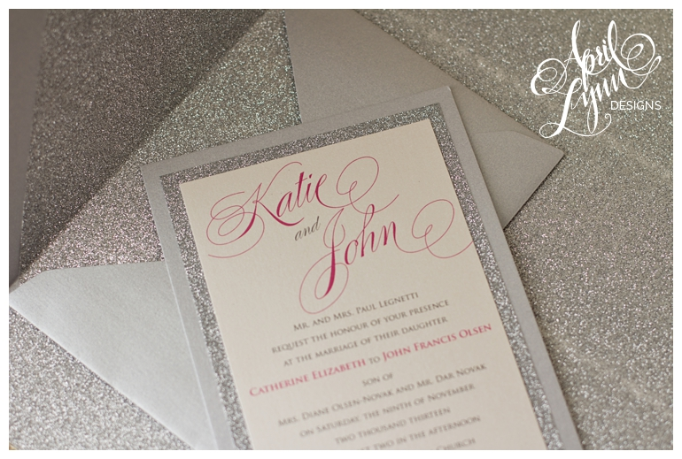 Philadelphia Custom Wedding Invitations | Silver Glitter Wedding Invitation + Glitter-Lined Envelope