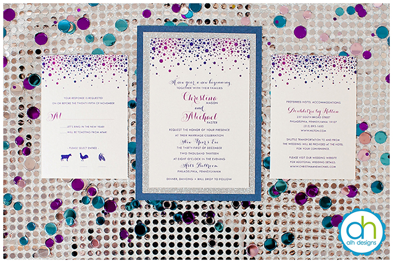 new years eve, wedding, blue, sapphire, jewel tones, fuschia, purple, silver, sequins, glitter