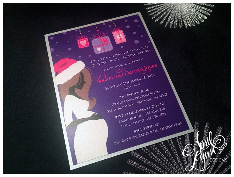 Philadelphia Custom Stationery | Pink, Purple, & Silver Baby Shower Invitation by April Lynn Designs