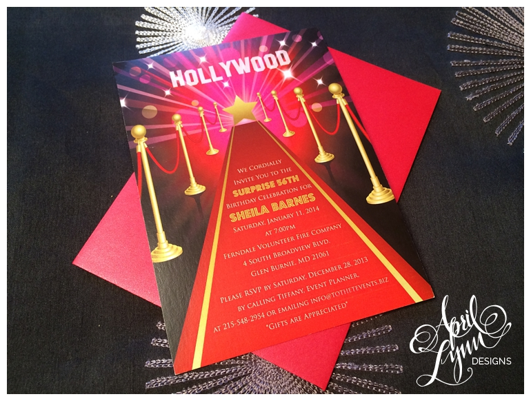 Philadelphia Stationery Designer | Hollywood Birthday Invitation