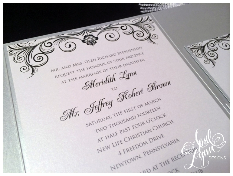 Philadelphia Custom Wedding Invitations | Silver + Black Pocketfold Wedding Invitations