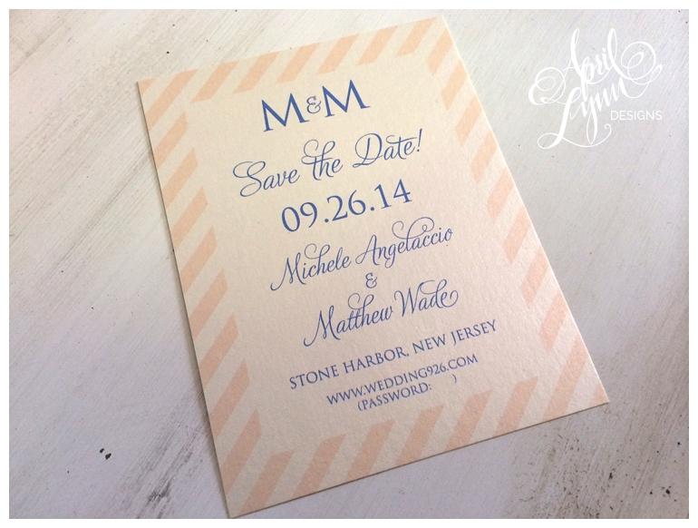 Philadelphia Custom Wedding Stationery | Pink + Blue Save the Date