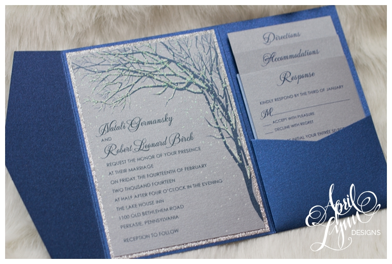 Philadelphia Custom Wedding Invitations | Glitter Snow Wedding Invitations