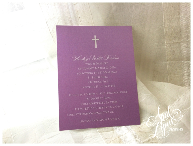 Baptism invitation, christian, purple, faith
