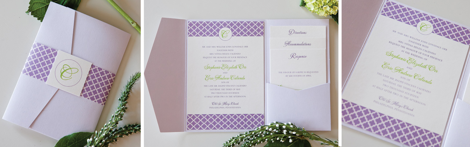 Purple Green Lattice Wedding Invitation Hotel Monaco Philadelphia