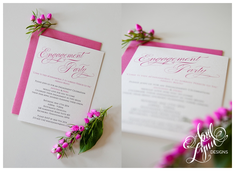 Philadelphia Wedding Stationery   Pink Engagement Invitation by April Lynn Designs