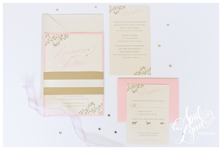 Blush + Gold Invitations by Philadelphia Wedding Invitation Designer April Lynn Designs