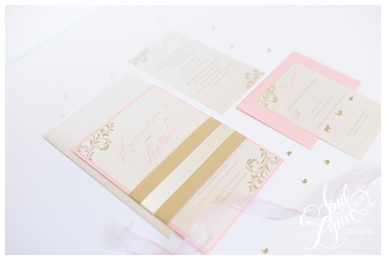 Blush + Gold Invitations by Philadelphia Wedding Invitation Designer April Lynn Designs