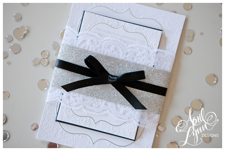 Silver Glitter + Lace Wedding Invitation Suite