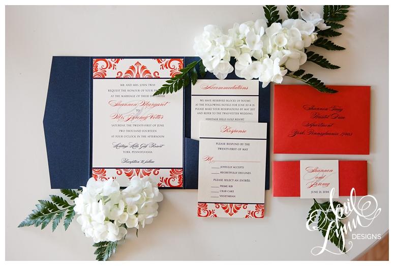 Philadelphia Wedding Invitations | Persimmon + Navy Damask Wedding Invitation by April Lynn Designs