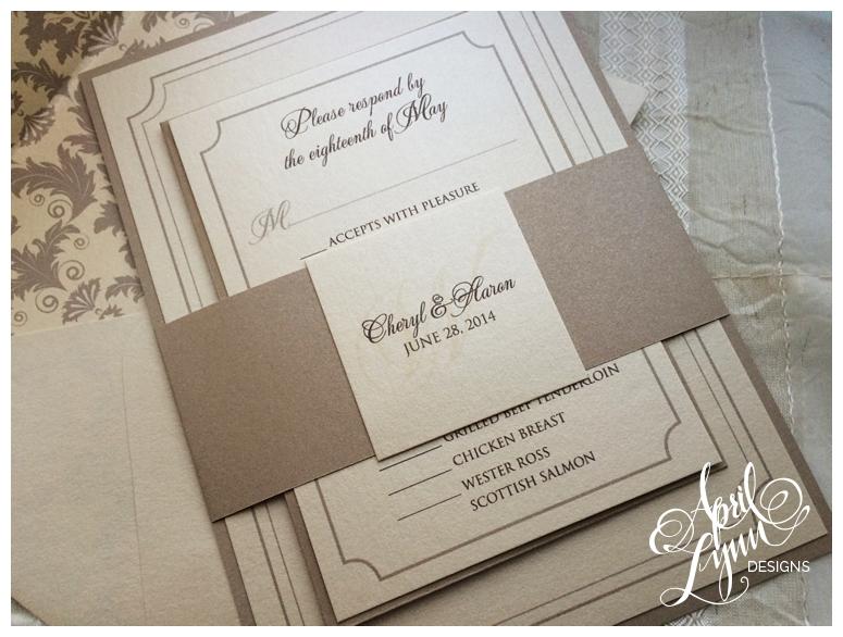 Tan Brown Damask Philadelphia Wedding Invitations By April Lynn Designs