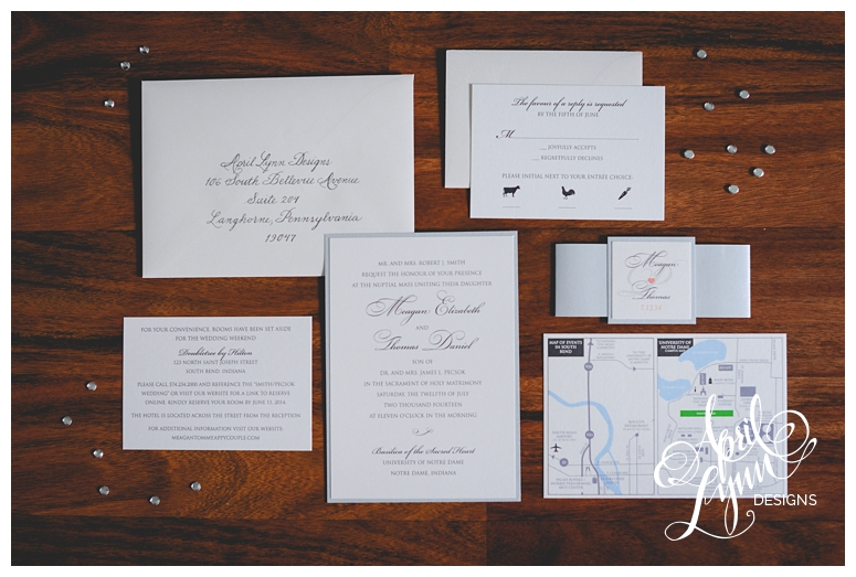 Custom Wedding Invitations | Silver + Coral Wedding Invitations by April Lynn Designs