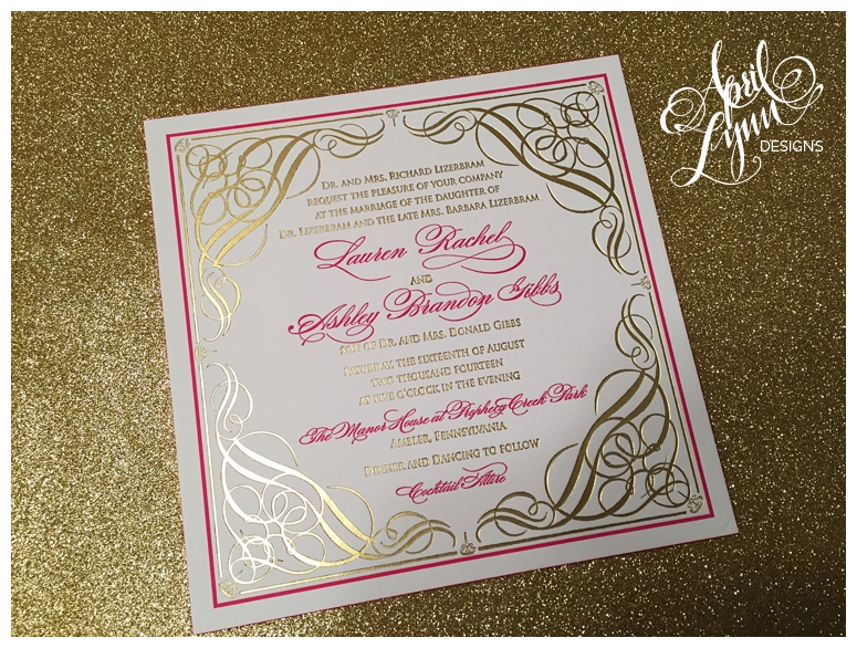 Custom Wedding Invitations | Pink Letterpress + Gold Foil Wedding Invitations