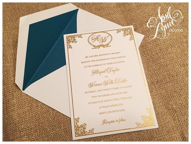 Philadelphia Custom Wedding Invitations | Gold Thermography Wedding Invitations by April Lynn Deisngs
