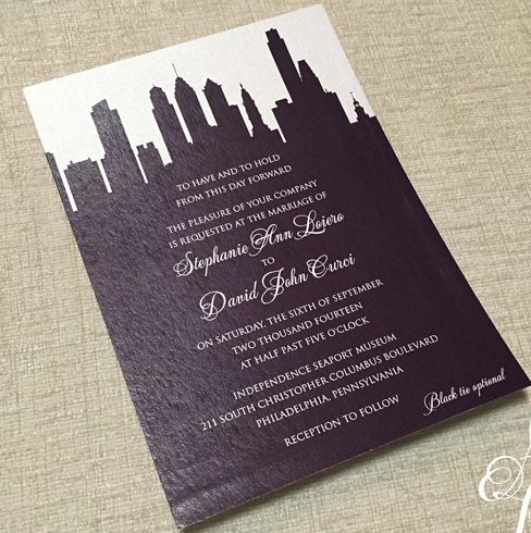 philadelphia, skyline, wedding, invitations