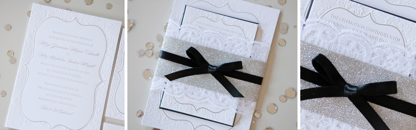 Silver Foil Glitter Letterpress Wedding Invitations Cescaphe Philadelphia