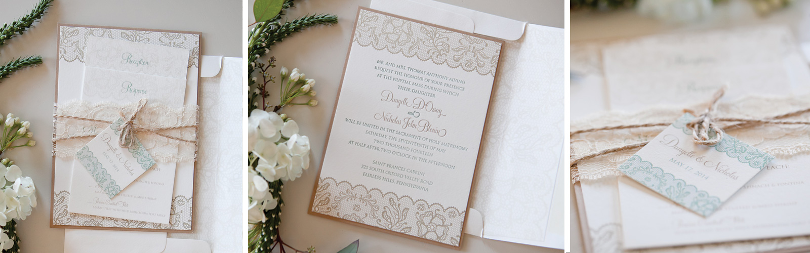 Rustic Lace Letterpress Wedding Invitations Talamore