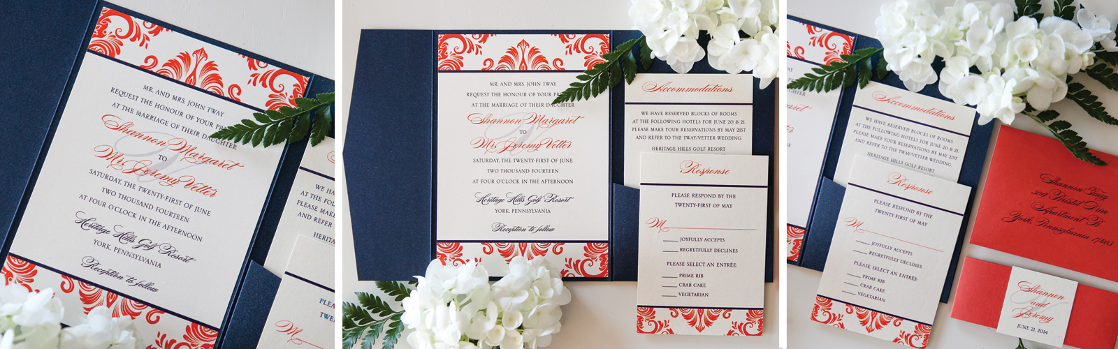 Custom Damask Pocketfold Wedding Invitation