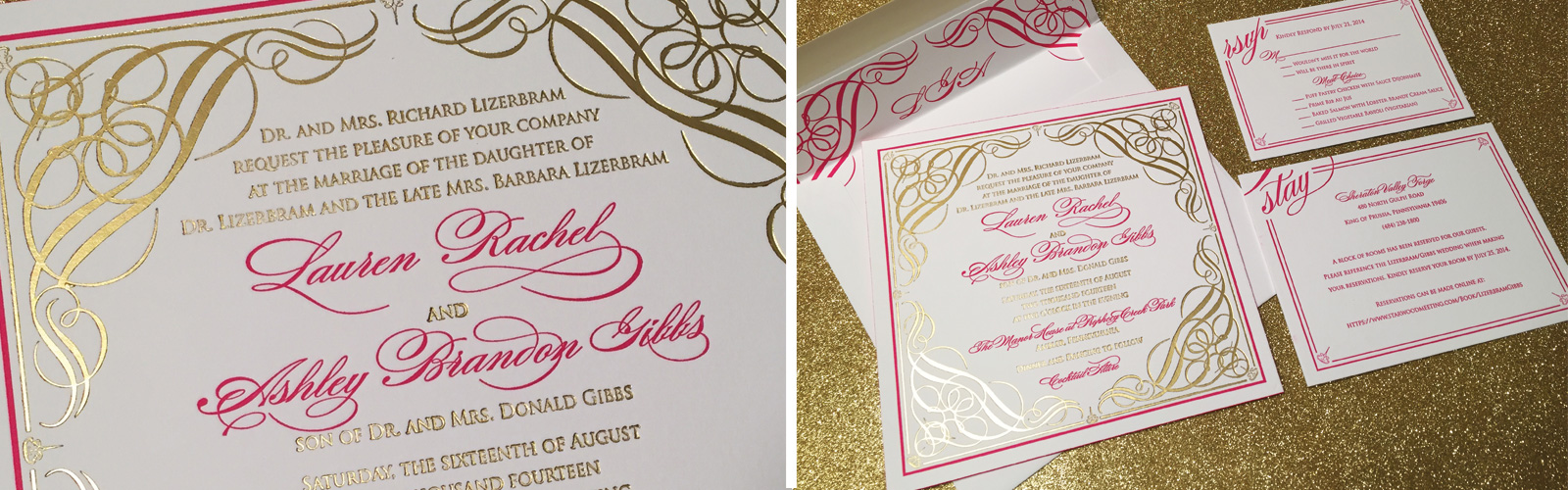 Gold Foil and Pink Letterpress Luxury Wedding Invitation