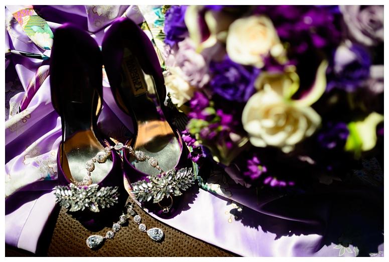 Purple Wedding Shoes + Bouquet