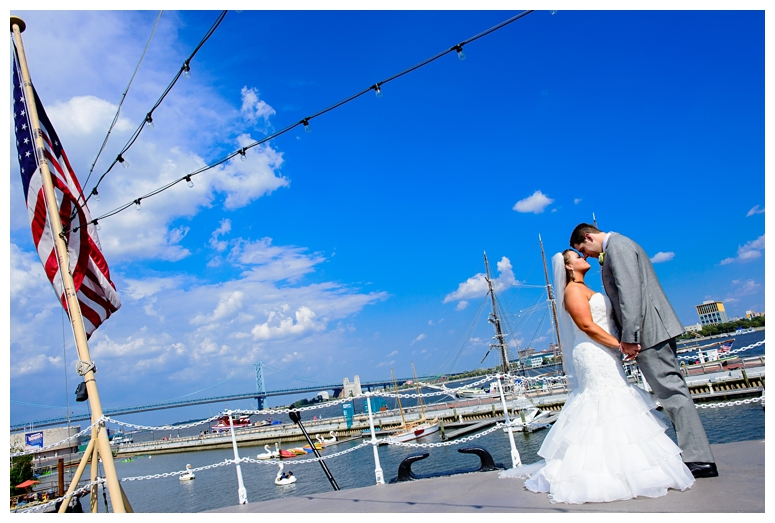 Philadelphia Waterfront Wedding Couple's Portrait