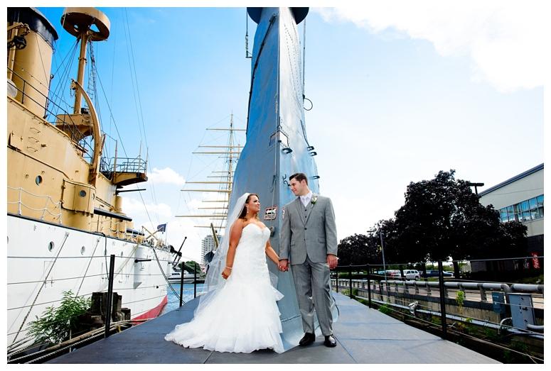 Philadelphia Seaport Museum Wedding Couple's Portrait