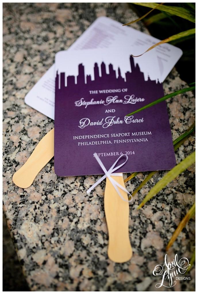 Philadelphia Skyline Wedding Program Fans by April Lynn Designs