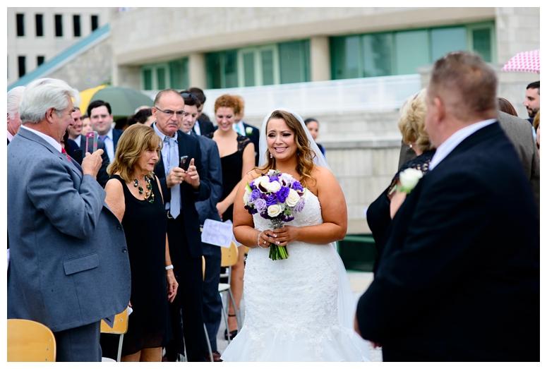 Bride Walking Down the Aisle at Philadelphia Seaport Wedding