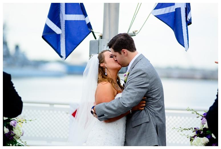 Philadelphia Seaport Museum Wedding Ceremony First Kiss