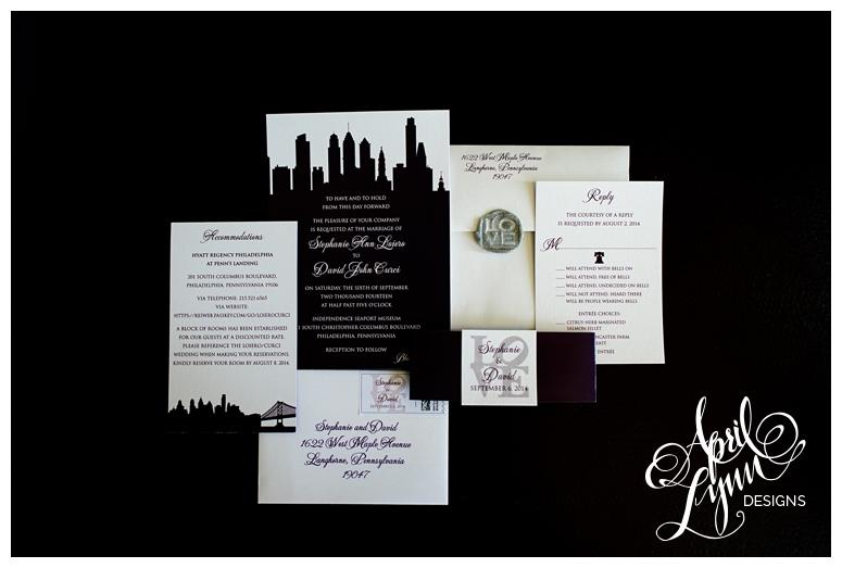 Philadelphia Skyline Wedding Invitations by April Lynn Designs