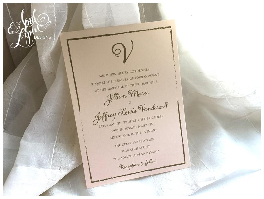 Blush & Gold Cira Centre Wedding Invitation by April Lynn Designs